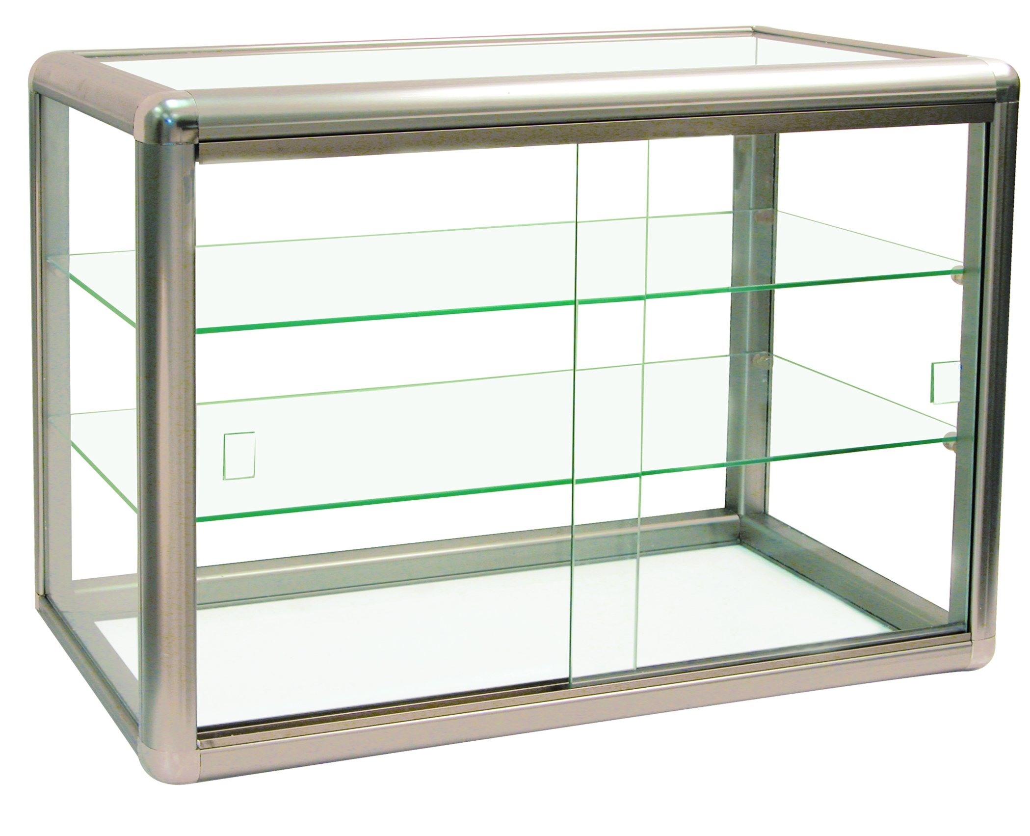 Elegant Champagne Trim Anodized Aluminum Display Table Top Tempered Glass Show Case. Tempered Glass with Key Lock Elegant Matte Gold by 888 Display USA