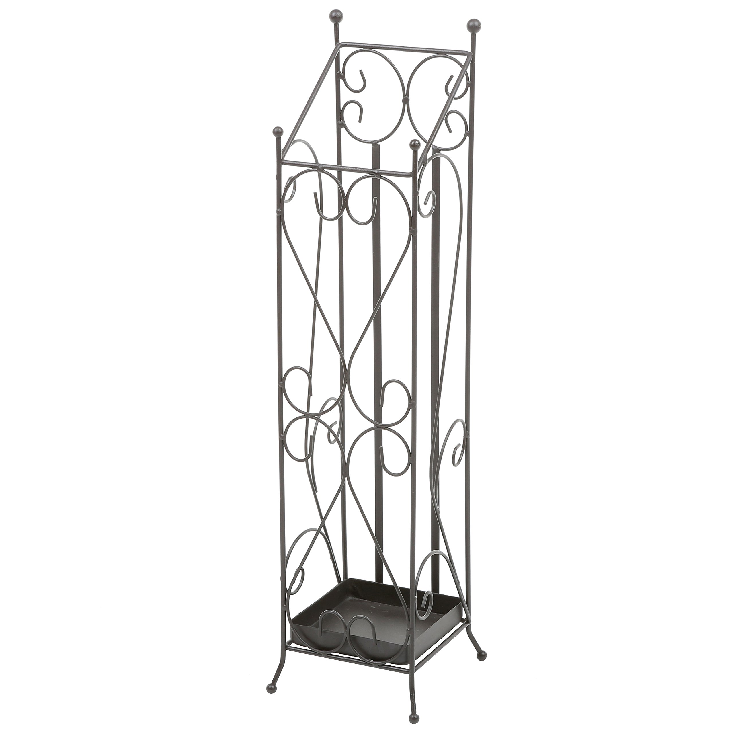 Freestanding Metal Entryway Tall Umbrella Stand, Drying Rack with Scrollwork Design, Brown