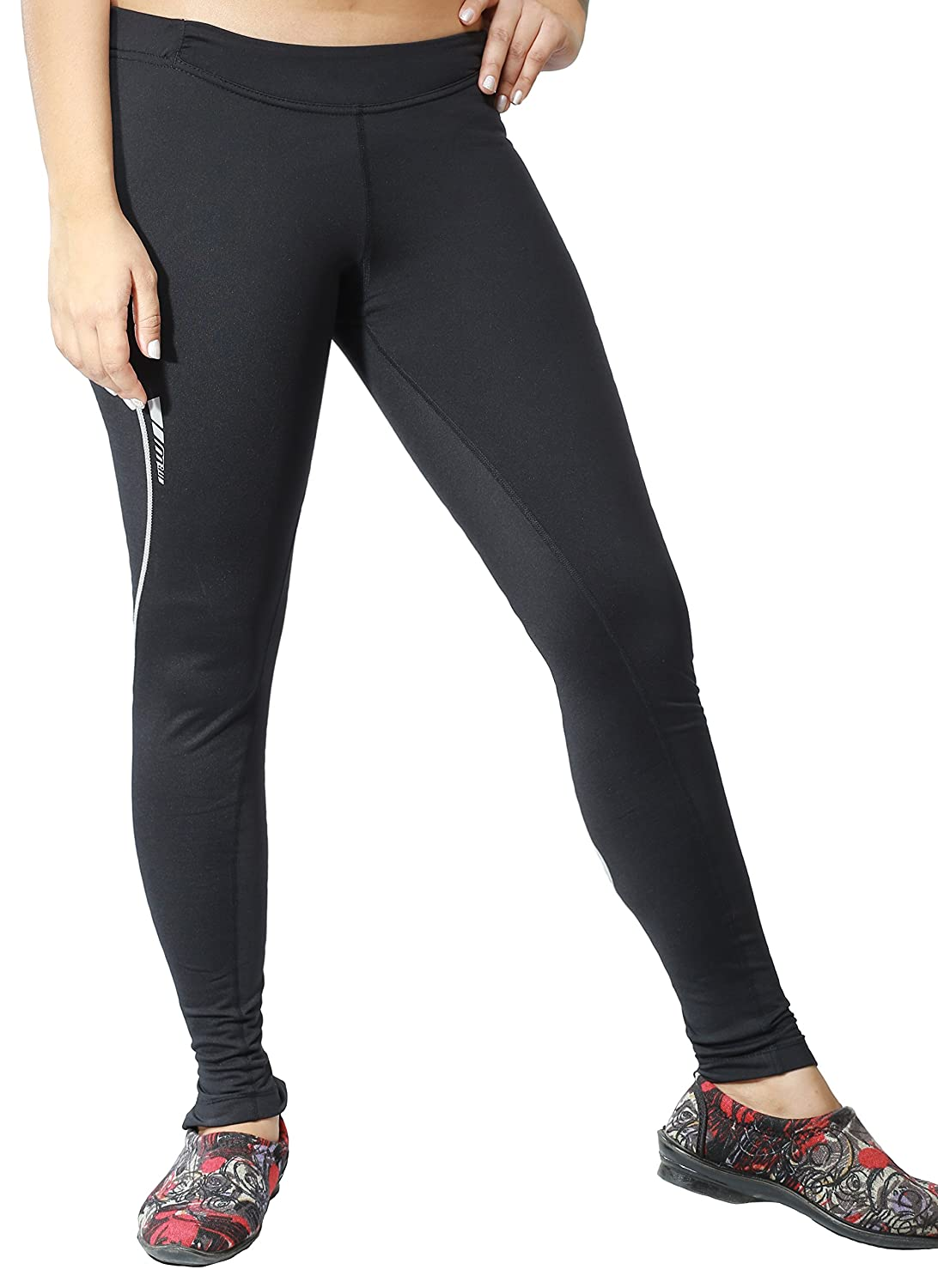 Maks Women Elite Design Winter Thermal Running Tights Long Pants Ankle Zipper Reflective Elements Small) GR-WRT9905BK-S