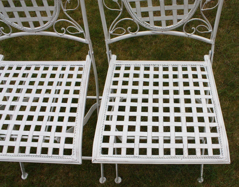 rondes//pliantes Maribelle motif floral//blanc Lot de 2 chaises en m/étal pour ext/érieur//jardin//terrasse