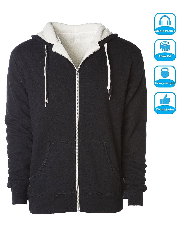 43021b89f Global Blank Heavyweight Sherpa Lined Zip Up Fleece Hoodie Jacket Men and  Women at Amazon Men's Clothing store: