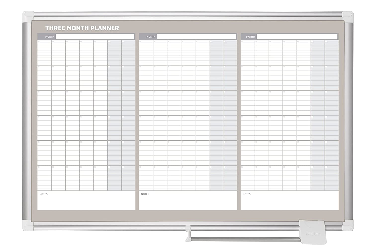mastervision planning board magnetic dry erase 3 month calendar