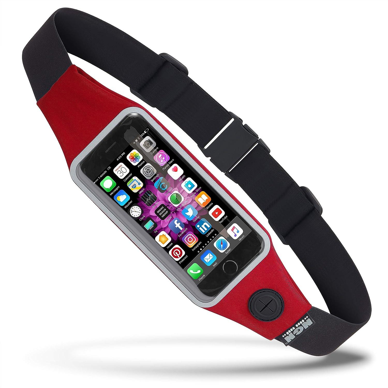 NGN deporte – iPhone cinturón de running/ciclismo riñonera/cinturón de fitness con bolsillo resistente al agua y clara pantalla táctil ventana para iPhone, Android y la mayoría de Smartphones, Rojo (Racing red): Amazon.es: