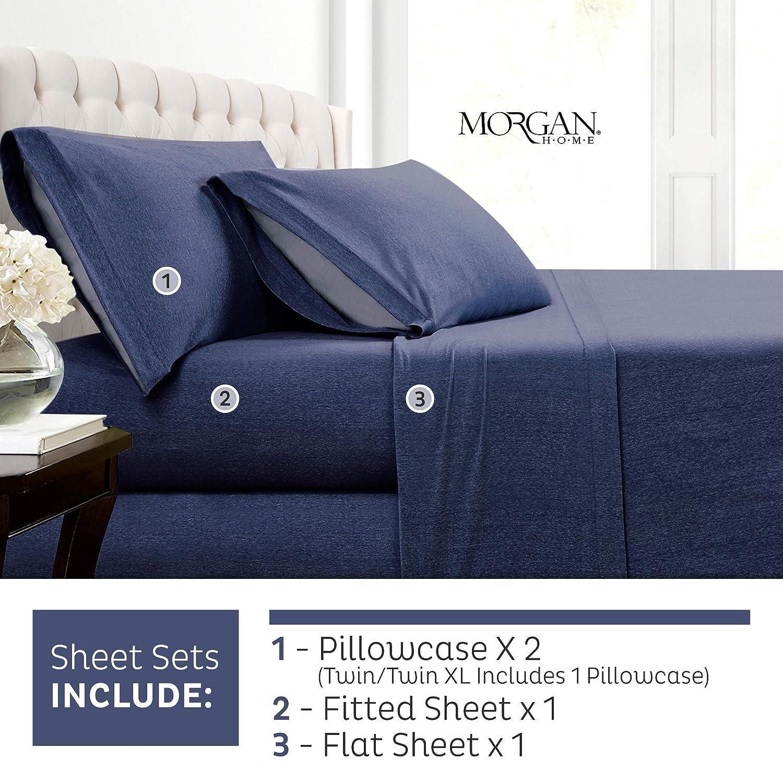 Morgan Home コットンリッチ Tシャツ ソフトヘザージャージニットシーツセット - オールシーズンベッドシーツ、暖かく快適なファッション Twin XL ブルー B07NGRH5YM