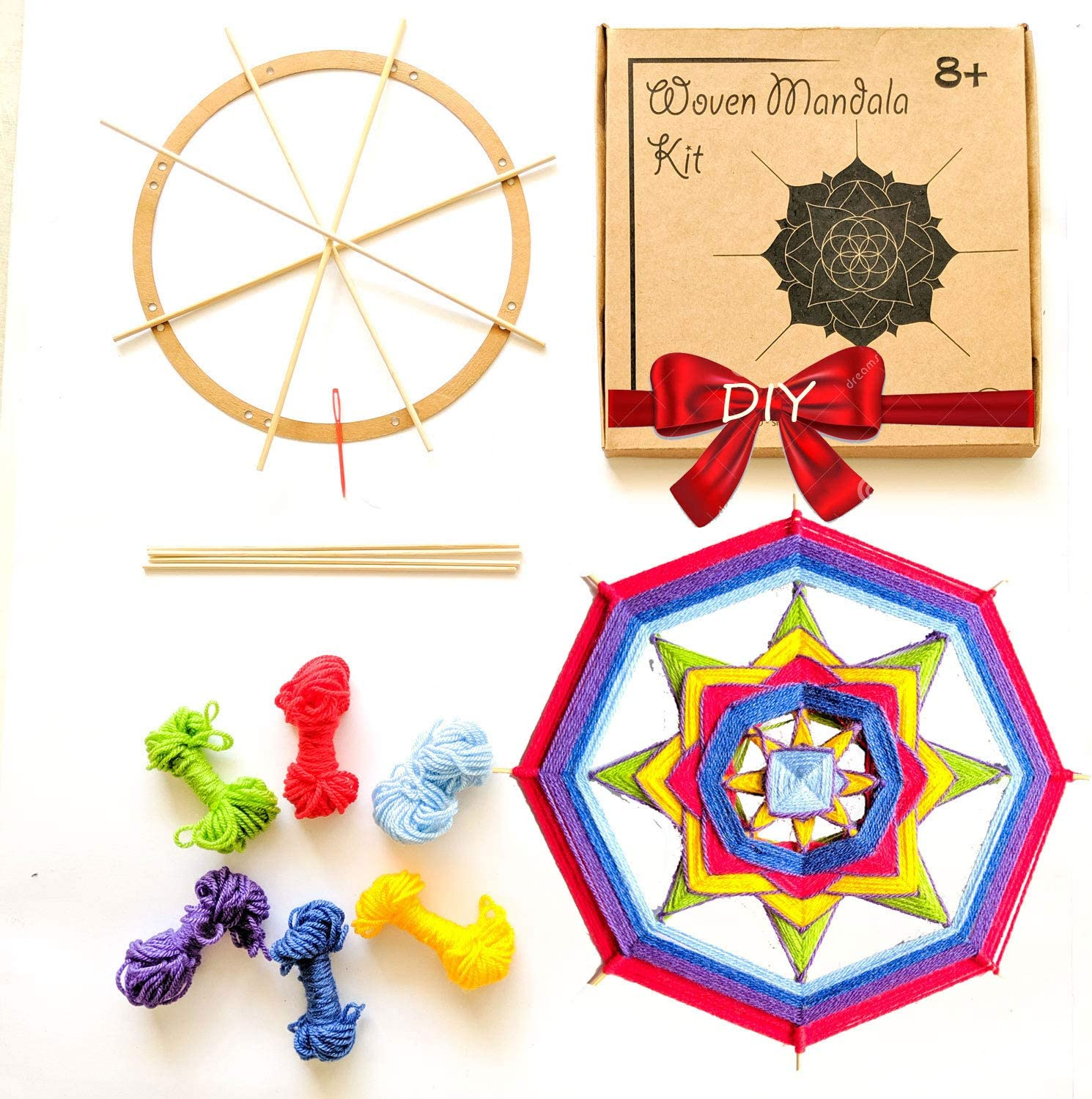 Make Your Own Bohemian Wall Hanging with All-Natural Materials-Creative Activity Set Includes Premium Cotton Yarn Cord Rope and Wooden Ring Hoop Mandala Life ART DIY Black Round Macrame Kit 12