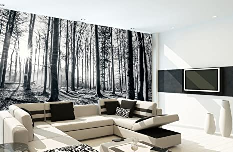Amazoncom 1wall Black And White Forest Wall Mural Home Kitchen