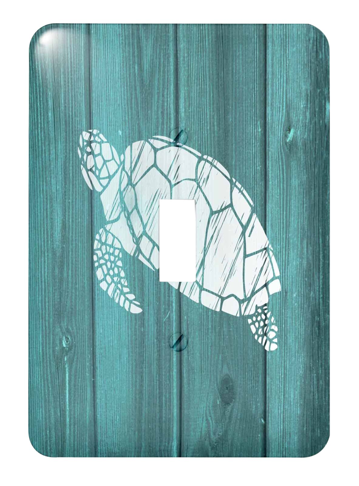 3dRose lsp_220428_1 Turtle Stencil In White Over Teal Weatherboard- Not Real Wood - Single Toggle Switch