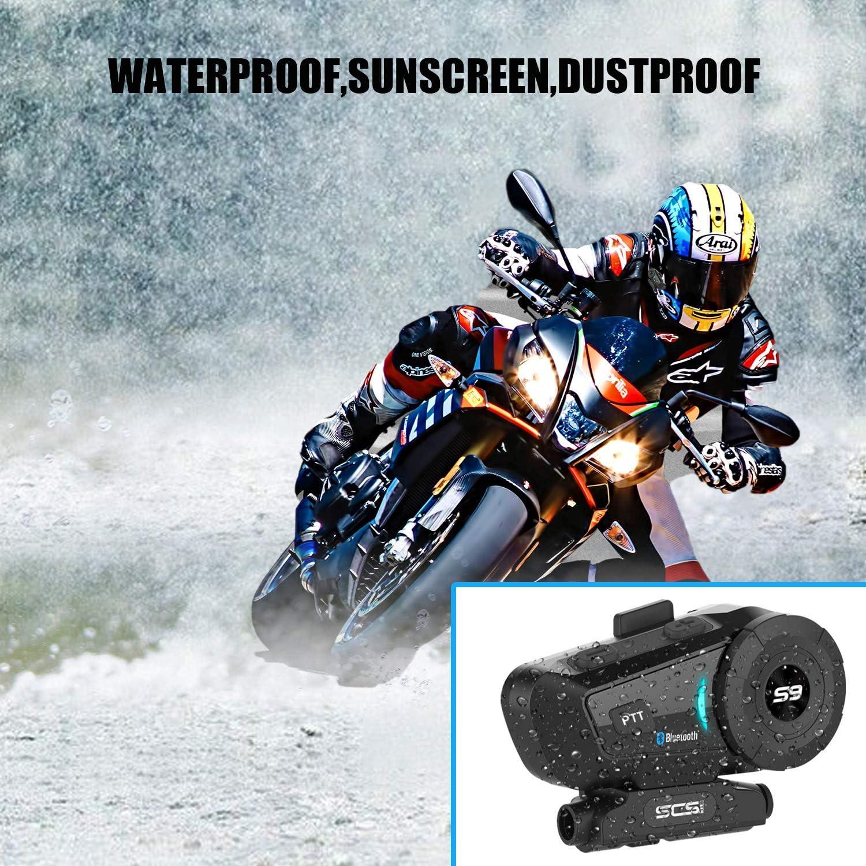 Osierr6 Motorcycle Bluetooth 4.1 Helmet Headset Handsfree Calls Voice Command with Speakers Headphones for Motorbike Skiing Motorcycle Helmet Intercom Communication Systems Kit