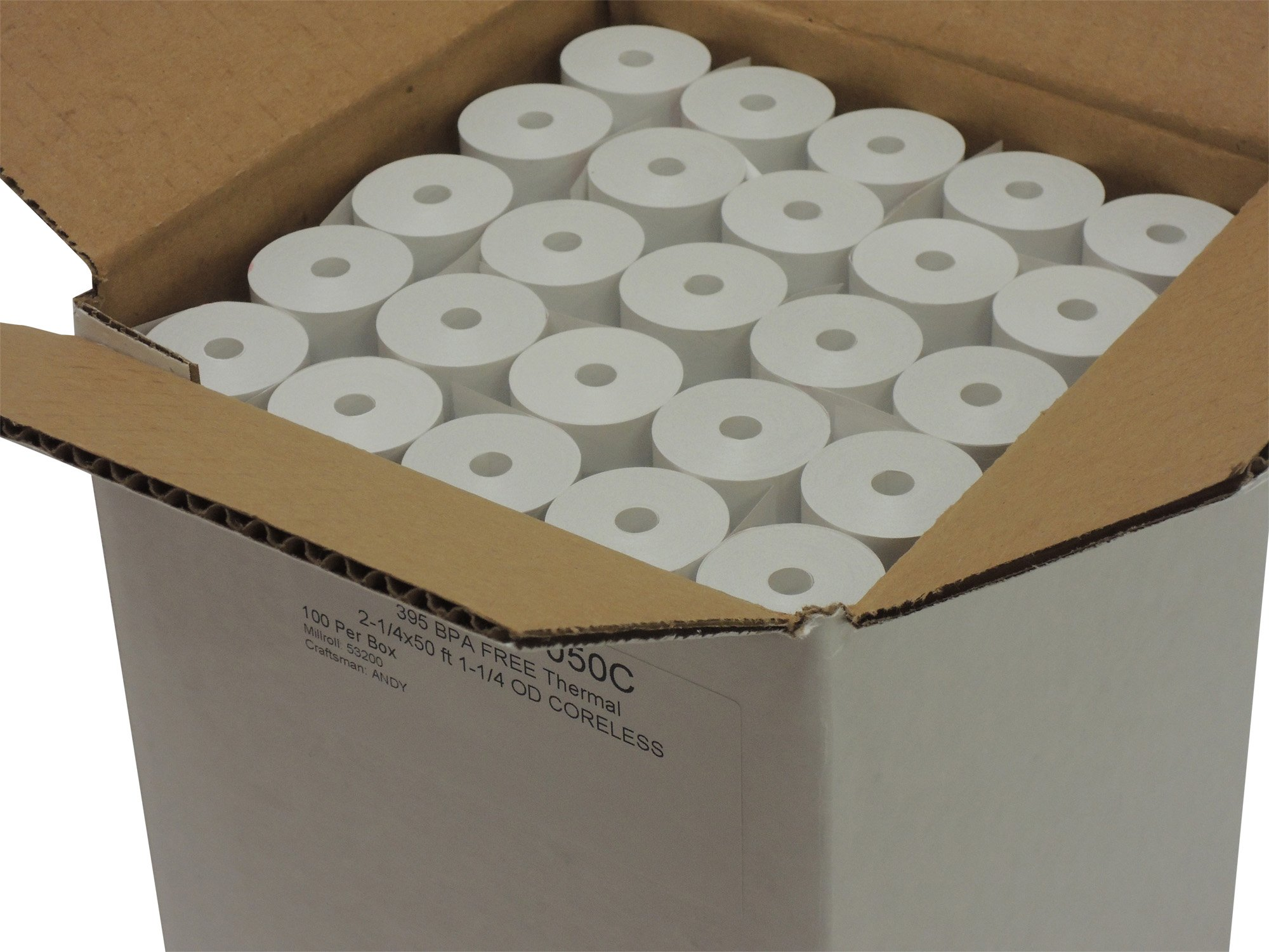Thermal Paper 2-1/4'' x 50 ft, 1.25'' / 30mm Diameter, CORELESS, BPA Free, 100 Rolls by POS1 (Image #5)