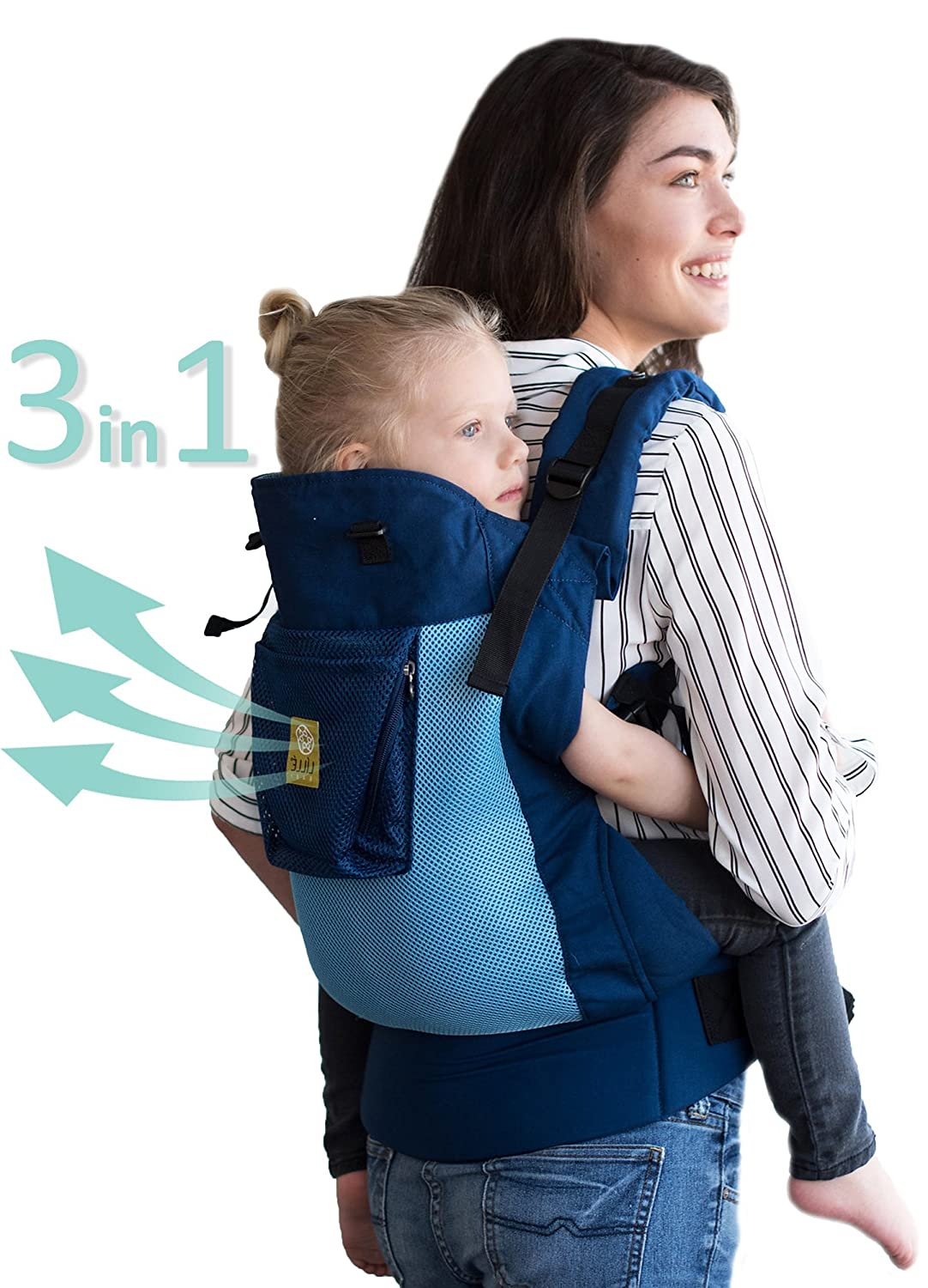 L LL baby CarryOn Airflow 3-in-1 Ergonomic Toddler Child Carrier, Blue Aqua – 20 to 60 lbs
