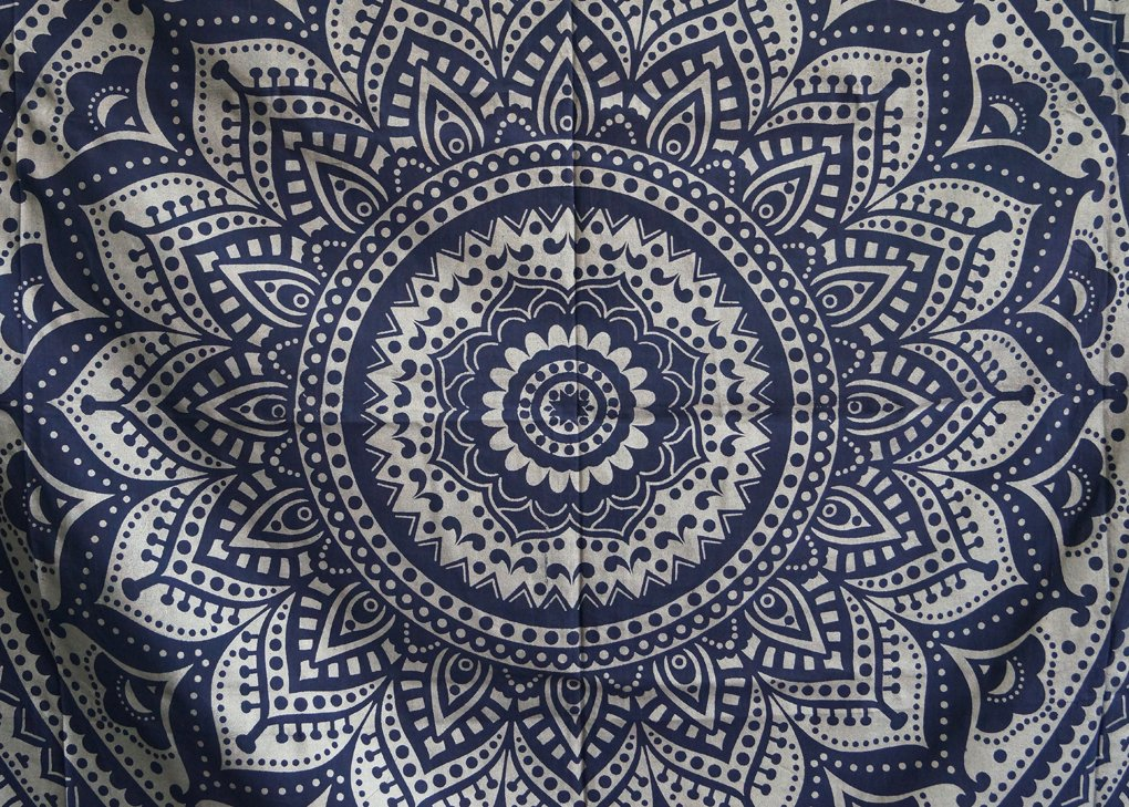Tapestry Silver Ombra India Mandala Tapestry, Queen Indian Mandala Wall Art Hippie Wall Hanging Bohemian Bedspread By Shubhlaxmifashion