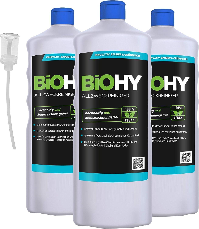 Biohy Limpiador multiusos concentrado, 3 botellas de 1 litro + ...