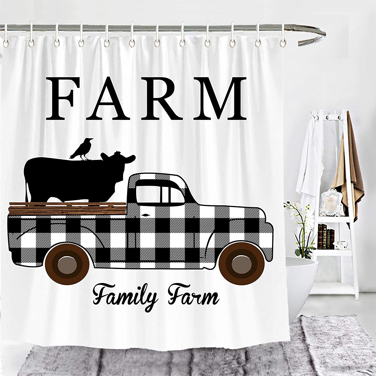Amazon Com Wencal Family Farm Buffalo Check Plaid Truck With Cow And Crow Farmhouse Shower Curtain Fall Bathroom Decor With Hooks Black White 72 X 72 Inches Kitchen Dining