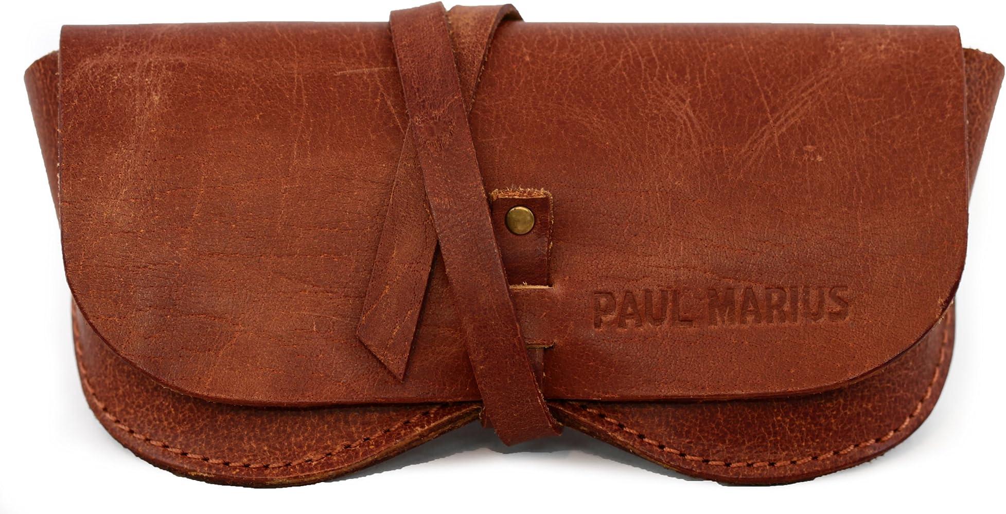 PAUL MARIUS ESTUCHE PARA GAFAS en cuero, adecuado para todos los formatos Vintage & Retro: Amazon.es: Ropa y accesorios