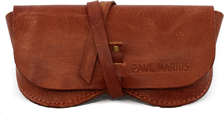ESTUCHE PARA GAFAS en cuero PAUL MARIUS, adecuado para todos los formatos Vintage & Retro PAUL MARIUS