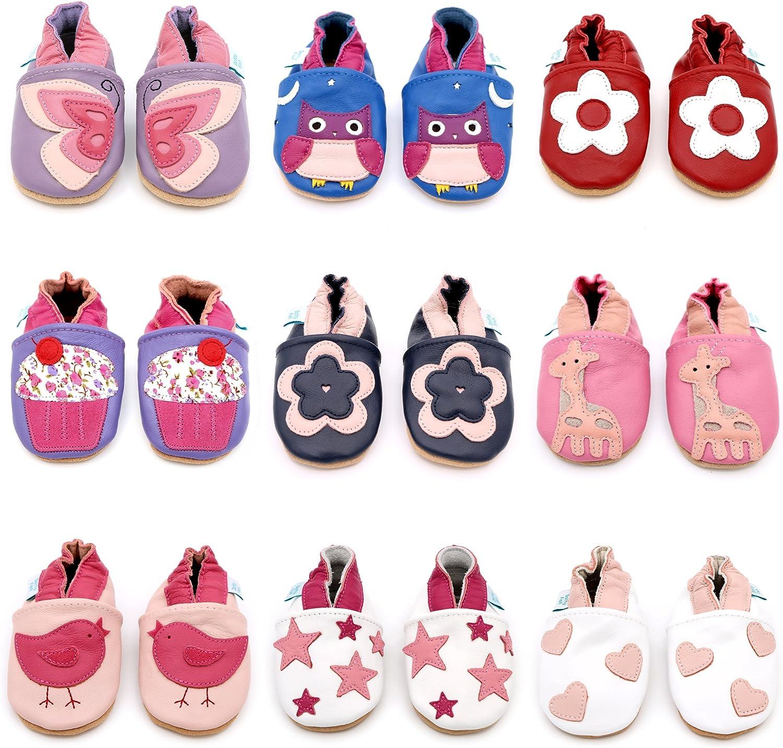 Pantoufles pour Filles avec des Fleurs et des Animaux. 4-5 Ans 0-6 Mois Dotty Fish Chaussures Cuir Souple b/éb/é et Bambin