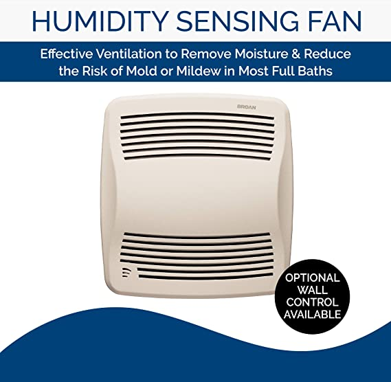 Broan Nutone Qtxe110s Ultra Silent Humidity Sensing Ventilation Fan Exhaust Fan For Bathroom And Home Energy Star Certified 0 7 Sones 110 Cfm White 6 Round Built In Household Ventilation Fans