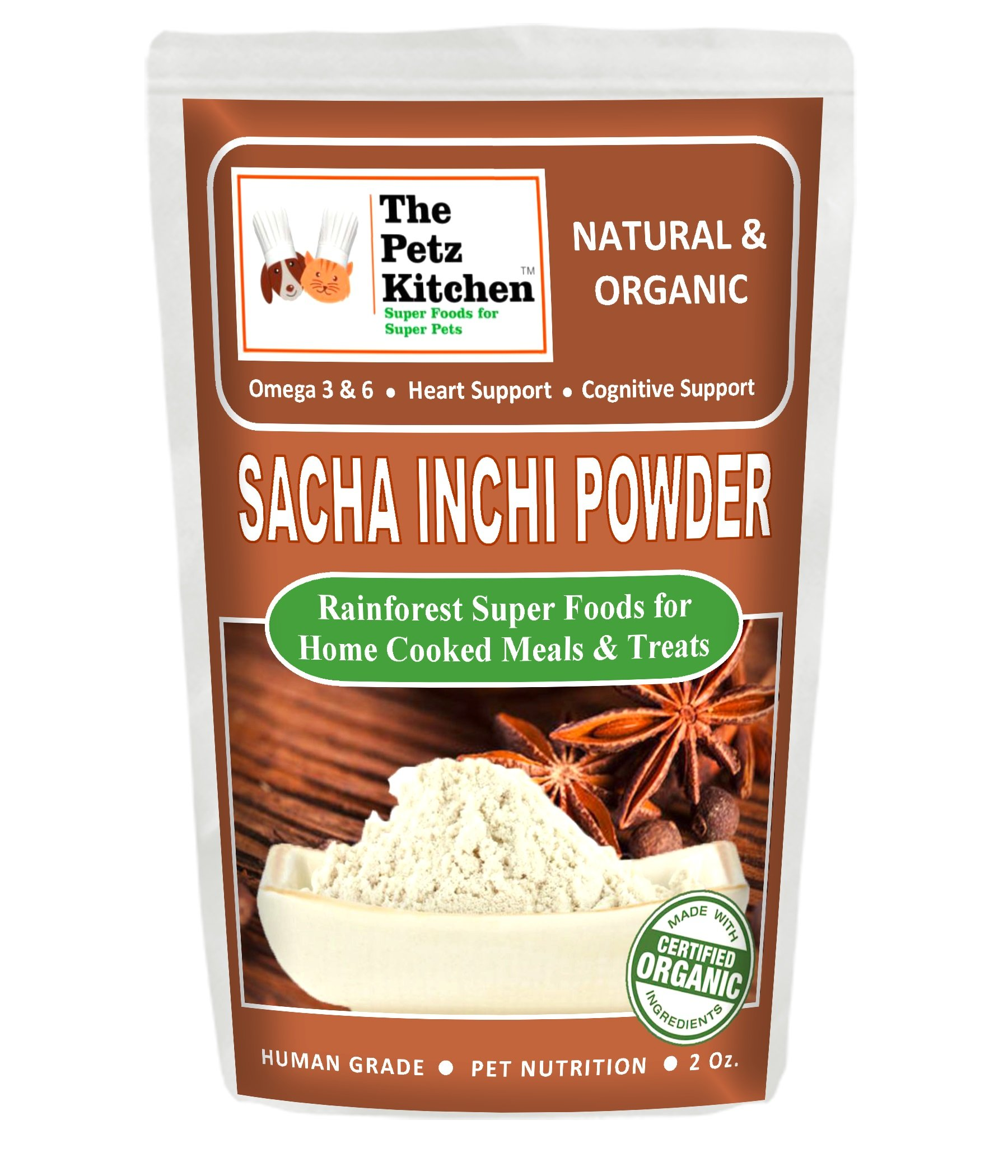 The Petz Kitchen by Natura Petz Organics PKITCHSACHA2OZ Sacha Inchi Nutritional Treat, 2 oz