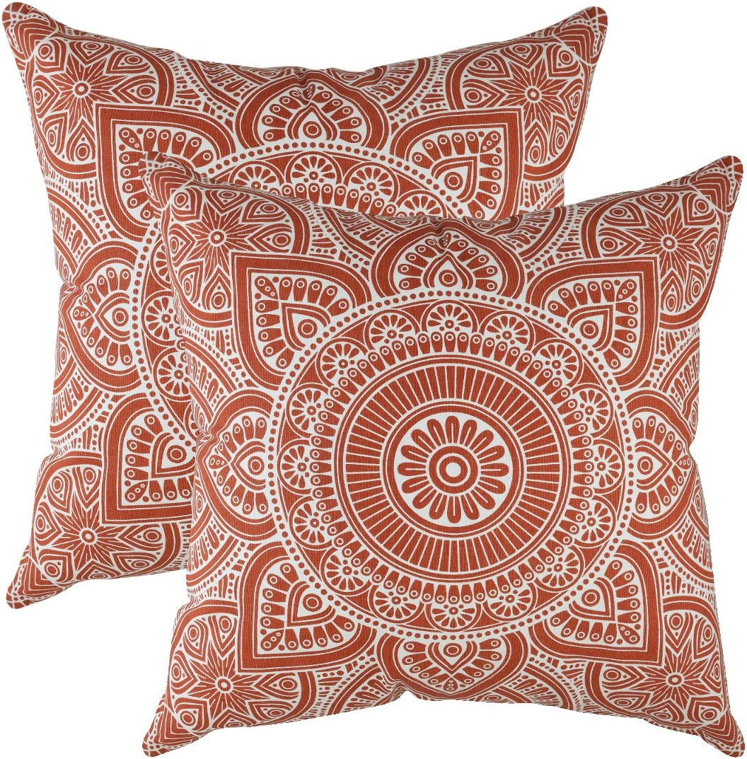 TREEWOOL (Pack of 2) Decorative Throw Pillow Covers Mandala Accent 100% Cotton Cushion Shams Cases (24 x 24 Inches / 60 x 60 cm, Rust)