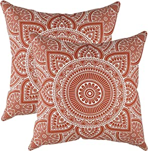 TREEWOOL (Pack of 2) Decorative Throw Pillow Covers Mandala Accent 100% Cotton Cushion Shams Cases (18 x 18 Inches / 45 x 45 cm; Rust)