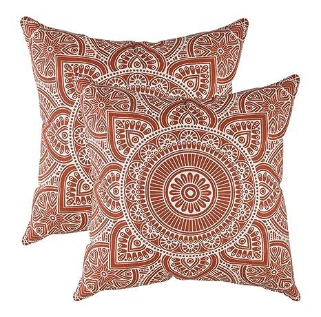TreeWool - Pack de 2 - Mandala Acento Decorativo Fundas de cojín, 100% algodón (50 x 50 cm / 20 x 20 Pulgadas, Marrón Oxidado)