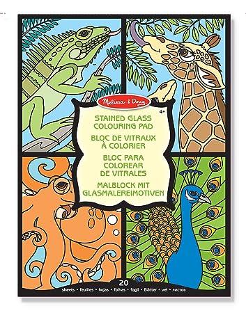 Melissa & Doug Stained Glass Coloring Pad - Animals: Amazon.co.uk ...