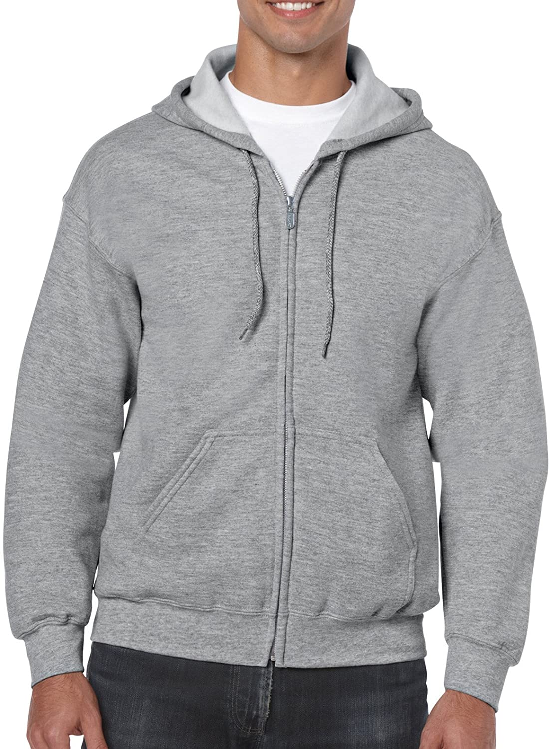 Gildan Men's Fleece Zip Hooded Sweatshirt at  Men's Clothing store