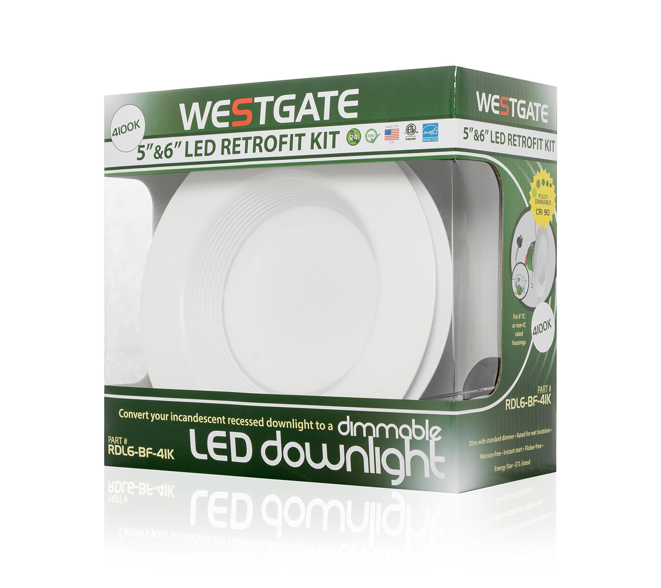Westgate Lighting 18W 6 Inch LED Retrofit Downlight With Integrated Baffle Trim - Dimmable LED Recessed Light Fixture Kit For Home KitchenOffice - 120V High Lumen (4 Pack 3000k Soft White)