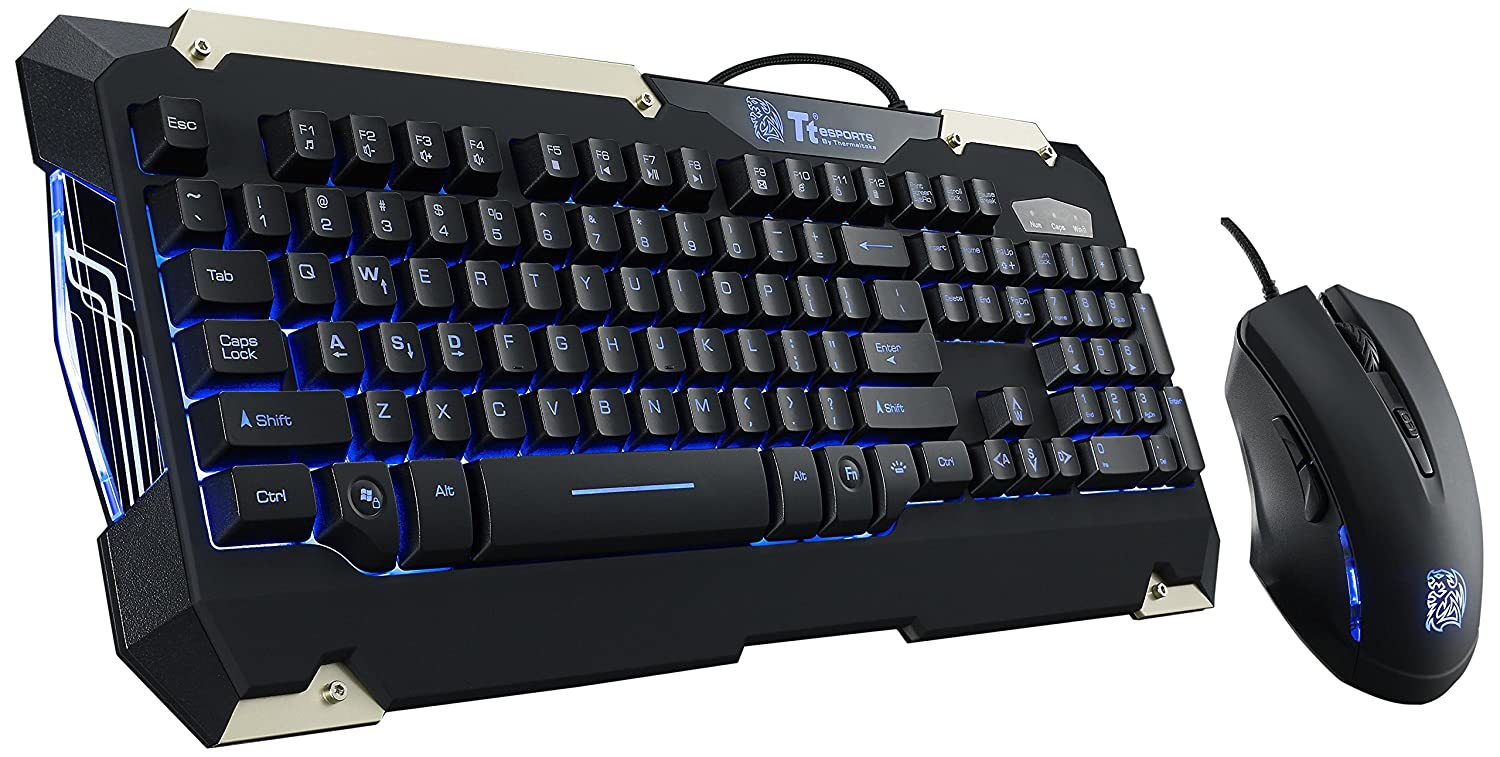 Tt eSPORTS COMMANDER LED Ilumination Gaming Keyboard and Mouse Combo Bundle KB-CMC-PLBLUS-01 Thermaltake USA Direct