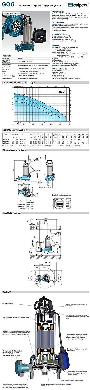 CALPEDA Bomba Triturador Sumergible Agua Residuale GQG6-21m 1,5Hp 230V 50Hz: Amazon.es: Hogar