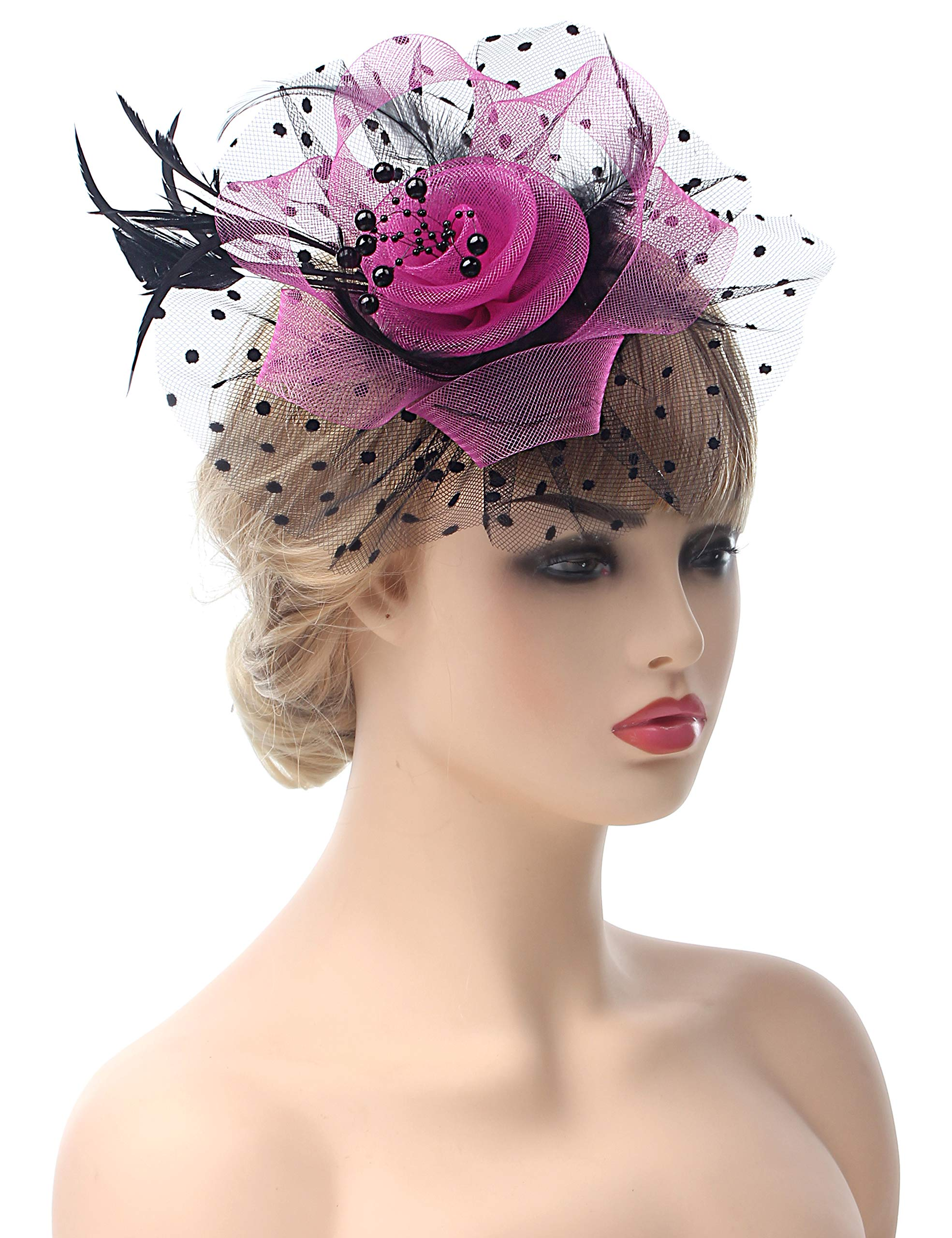 Myjoyday Fascinators Hat for Women Tea Party Headband Kentucky Derby Wedding Cocktail Flower Mesh Feathers Hair Clip (Rose and Black)