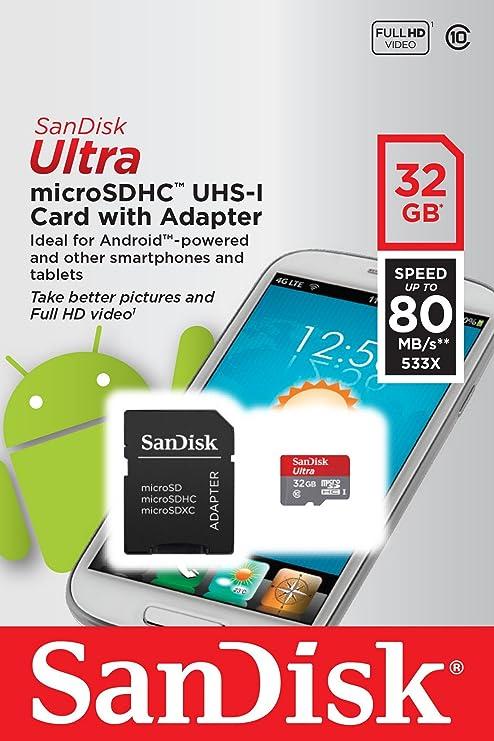 SanDisk Ultra - Tarjeta de memoria microSDHC UHS-I de 32 GB con adaptador SD, velocidad de lectura hasta 80 MB/s, Clase 10