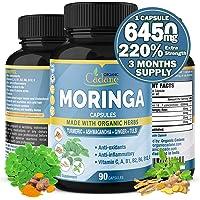 Organic Moringa Extract Capsules 6450MG with Ashwagandha, Tulsi, Ginger, Turmeric  Multi Vitamin Oleifera Leaf Herb…