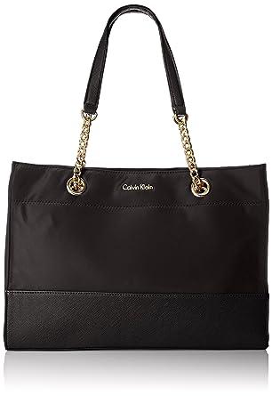 90ea79f0fd9 Amazon.com: Calvin Klein Nylon Chain Tote Bag, Black, One Size: Clothing