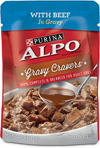 Purina ALPO Brand Dog Food Purina ALPO Gravy Wet Dog Food, Gravy Cravers with Beef – 24 3.5 oz. Pouches 011132168391