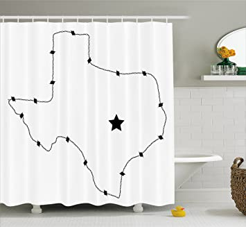 Amazon Texas Star Shower Curtain By Ambesonne USA State Map