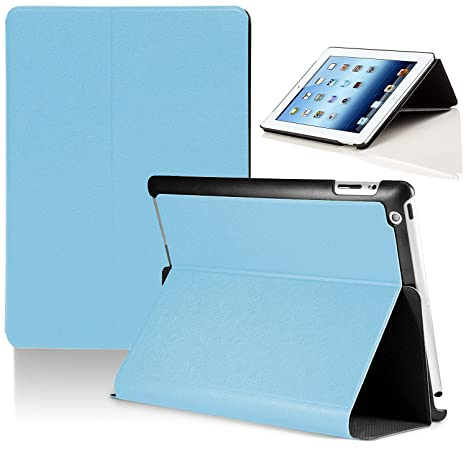 Forefront Cases Funda Carcasa Protectora Plegable Apple iPad 2 / iPad 3 / iPad 4 (Azul Claro)