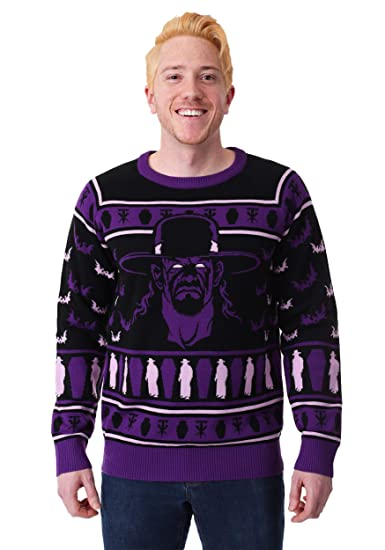 Amazoncom Wwe Undertaker Adult Ugly Christmas Sweater Purple Clothing