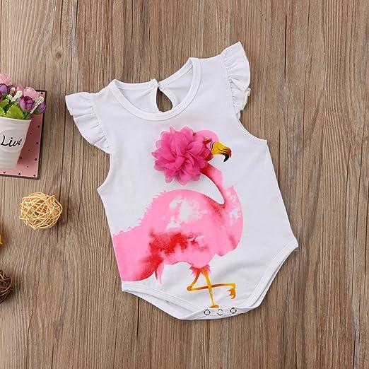 db70b53d8f1c Amazon.com  Newborn Baby Girls Ruffle Fly Sleeve Flamingo Applique Bodysuit  Romper  Clothing