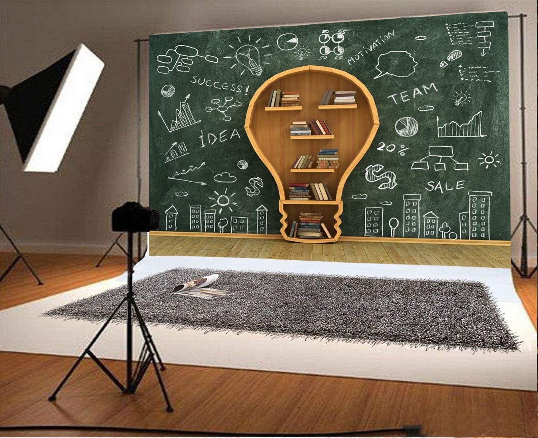 Bookshelf Books High School 10x6.5ft Back to School Lamp Shaped Bookshelf Backdrop Blackboard Chalk Drawing Shabby Stripes Wood Floor Photography Background Boys Girls Photo Studio Props