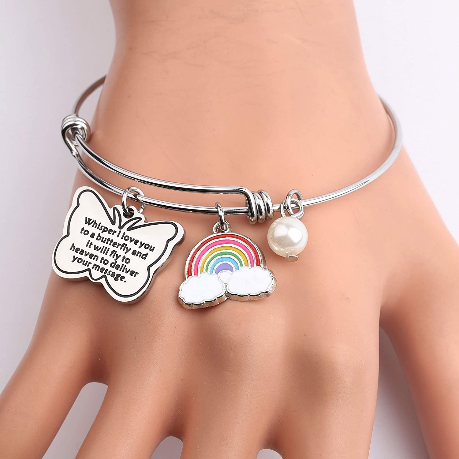 KUIYAI Butterfly Charm Bracelet Whisper I Love You to a Butterfly Memorial Bangle