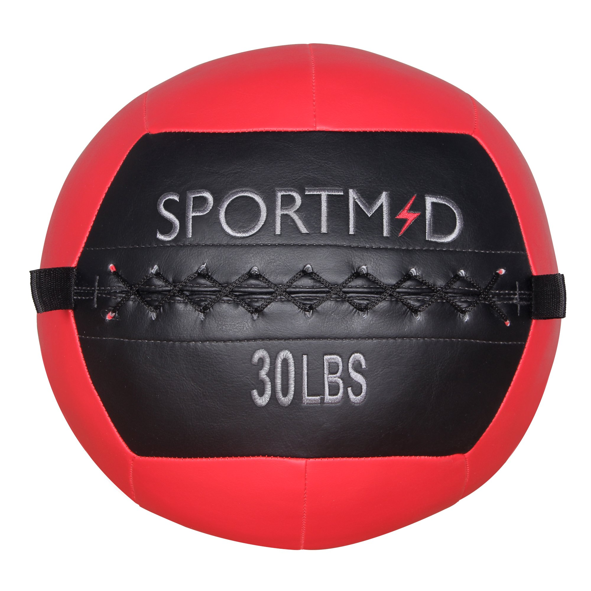 Sportmad Medicine Ball Soft Wall Ball Weight Ball for CrossFit Exercises Strength Training Cardio Workouts Muscle Building Balance Red 30 LBS