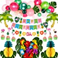 Golray Hawaiian Luau Birthday Party Decorations Supplies Tropical Moana Summer Party Decor with Balloon Arch, Palm Leaves, Silk Hibiscus Flowers, Tissue Paper Pineapples, Cupcake Toppers, Flamingo