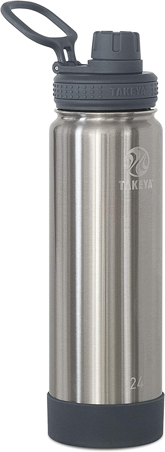 Takeya Actives Insulated Stainless Steel Water Bottle with Spout Lid, 24 oz