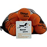 Dog Tennis Balls by Woof Sports - 12 Orange Ecofriendly Balls & Mesh Carrying Bag. Medium Size Balls Fits Standard Ball Launchers