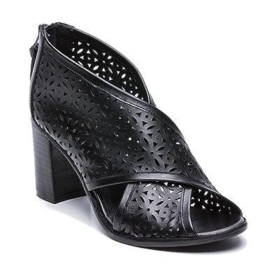 b6509cbdaa4f7 Zerimar Damen Hoch Sommer Stiefel aus Leder | Bootie Peep Toe | hohe ...