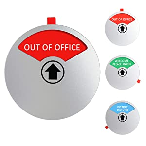 Privacy Sign Out of Office, Welcome Please Knock, Do Not Disturb Sign for Door Conference, Magnetic & Strong Adhesive Backing, 4 Inch Diameter Round-Shaped