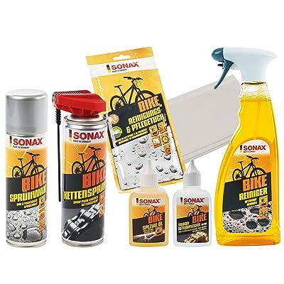 6 pièces Sonax Bike Kit d'entretien pour vélo électrique avec huile de nettoyage en silicone + nettoyant + chiffon de nettoyage + cire de pulvérisation + spray de chaîne + huile spéciale Auto et Moto