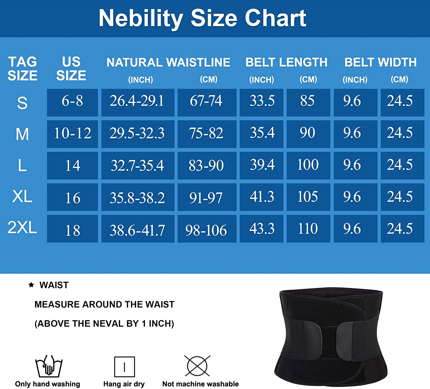 Nebility Women Waist Trainer Belt Tummy Control Waist Cincher Trimmer Sauna Sweat Workout Girdle Slim Belly Band