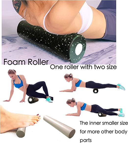 Round Foam Gripped Yoga Roller for Exercise Therapy /& Balance Pilates Recovery